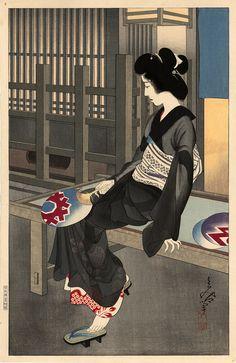 """Oda Tomiya (1896-1990) - """"Yû suzumi (Enjoying the evening cool)"""" , ca. 1934, Size: Dai-Oban 41 x 25.7 cm"""