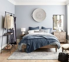 This is a Bedroom Interior Design Ideas. House is a private bedroom and is usually hidden from our guests. Much of our bedroom … Home Decor Bedroom, Bedroom Inspirations, Home Bedroom, Bedroom Interior, Master Bedrooms Decor, Blue Bedroom, Home Decor, Small Bedroom, Apartment Decor