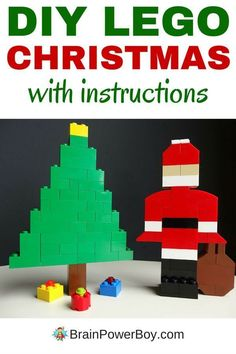 DIY LEGO Christmas scene with an easy to make LEGO Santa, Christmas tree and gifts. They make a great Christmas LEGO project for kids. Lego Christmas Tree, Christmas Tree With Gifts, Christmas Scenes, Christmas Crafts For Kids, Holiday Crafts, Santa Christmas, Christmas Pictures, Christmas Ideas, Lego Disney