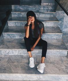 #tumblr #fila #disruptor #girl #cute #outfit #black #white #like