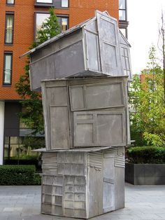 """Shack Stack"" by Richard Wilson, 2010, Grosvenor Waterside, Gatliff Road, London"
