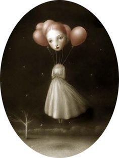 Nicoleta Ceccoli's floating balloon head lady from Jack and the Cuckoo-Clock Heart