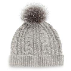 Sofia Cashmere Cashmere Cable-Knit Hat w Fur Pom Pom ( 105) ❤ f3d28321a098