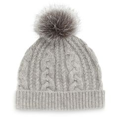 Sofia Cashmere Cashmere Cable-Knit Hat w/Fur Pom Pom ($105) ❤ liked on Polyvore featuring accessories, hats, beanie, grey, sofia cashmere, grey cashmere hat, cable knit hat, fur hat and pom pom hat