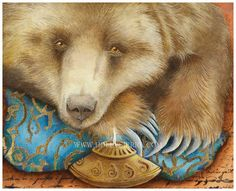 Oso, the enchanted bear, reclines on his fine brocade and damask pillows before the long winter's hibernation. His eyes are soft and gentle and speak of his many arduous years prowling and surviving off the land. He has before him, flickering, an ancient oil lamp from the Middle East. The last light before his deep sleep and the return of spring!
