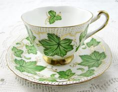 Royal Chelsea Tea Cup and Saucer with Green Leaves and Gold Decor, Vintage Bone China