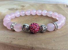 Pink Quartz Bracelet with Rhinestone Crystal Ball Bracelets Roses, Crystal Bracelets, Jewelry Bracelets, Handmade Bracelets, Handmade Jewelry, Beaded Jewelry Designs, Chakra Jewelry, Jewelry Crafts, Jewelery