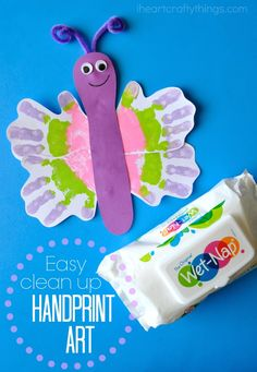 Easy Clean up Handprint Butterfly Craft for Kids. Great sprint or summer kids craft.