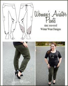 Women's Aviator Pants knit fashion cargo by WinterWearDesigns