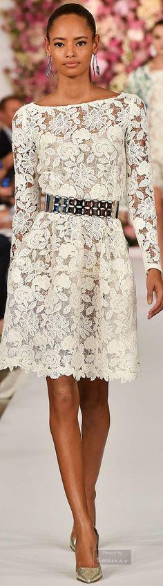 Oscar de la Renta.Spring 2015. Love the dress, ditch the belt for a satin sash or wide tan leather belt.
