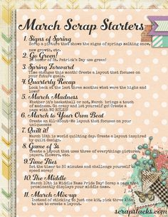March Scrap Starter - a printable list of scrapping ideas for the month!