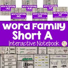 This is a Word Family Interactive Notebook to help students practice and learn CVC words and word families. There are 22 different activities for each Short A word family to help your students master the word family. You may choose which activities are best for your students. The activities include: - Sort by word family - Word Family Word Search - ABC Order - Roll, Write, Graph - Spin, Write, Graph - Real & Not Real Pockets - Building Words - Highlight then Trace - Color the Pictures - Deco