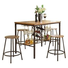 Say 'cheers' when you pull up a stool at the Baxton Studio Vintner Pub Table Set . This four-stool set includes industrial accents and reclaimed. Wood Table Bases, Solid Wood Table Tops, Solid Wood Dining Set, Oak Table, Nook Dining Set, 3 Piece Dining Set, Dining Room Table, Dining Rooms, Kitchen Dining