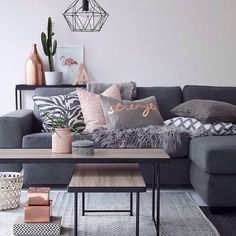imm24: Love the blush copper and grey in this stunning living...