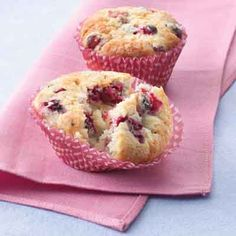 Cranberries add a bright color and flavor to this tender sparkling-topped muffin.