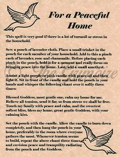 For a Peaceful Home, Book of Shadows, Spell Pages, Witchcraft, Wicca, Magic