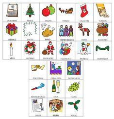 Bingo de Navidad. Léxico palabras usadas