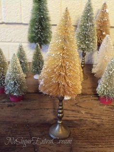 Vintage Inspired Bottle Brush Tree with Brass Candlestick Primitive Sepia Bottle Brush Tree and Brass Candlestick