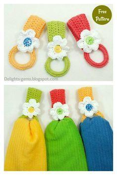 Crochet Towel Holders, Crochet Dish Towels, Crochet Towel Topper, Crochet Kitchen Towels, Crochet Potholders, Quick Crochet, Crochet Home, Crochet Gifts, Knit Crochet