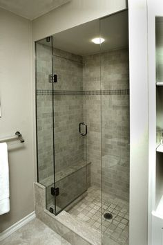 size shower stall for a small bathroom.Reasonable size shower stall for a small bathroom. Small Bathroom Tiles, Small Bathroom With Shower, Small Showers, Master Bathroom, Basement Bathroom, Master Shower, Small Shower Stalls, Small Tiles, White Bathrooms
