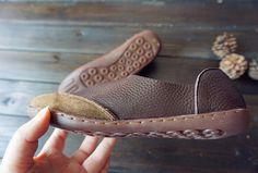 Brown Handmade ShoesOxford Women Shoes Flat Shoes Retro