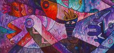 Handwoven Tapestry Art by Maximo Laura - Royal Fish Dance – Detail Photo