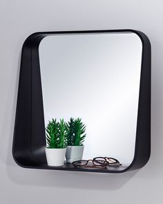 MirrorDeco — Rack Wall Mirror with Shelf - Black Square Frame