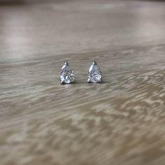 Pear Diamond Earrings, Pear Earrings, Diamond Studs, 14k Earrings, Pear Stud Earrings, Diamond Pear, Diamond Teardrop, Teardrop Studs by MilestonesByABC on Etsy