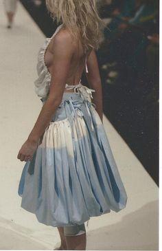 linen halter neck with cotton puffball skirt