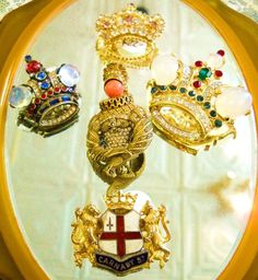 Royal Pins to celebrate the British royal wedding! Tirfari crown pins on the right and left