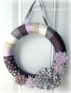 Purple Yarn Wreath with Zipper Flower by WreathsByEmmaRuth on Etsy, $20.00