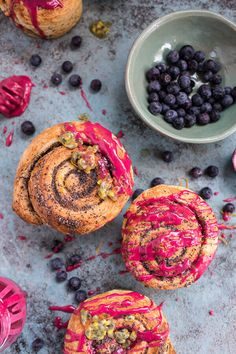 Meyer Lemon Poppy Seed Morning Buns with Blueberry Passionfruit Glaze via Half Baked Harvest Delicious Breakfast Recipes, Brunch Recipes, Sweet Recipes, Delicious Desserts, Dessert Recipes, Bread Recipes, Morning Bun, Breakfast Bake, Breakfast Club