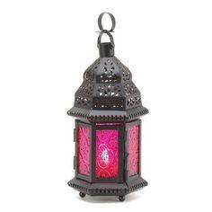 Dark Pink Glass Candle Lantern