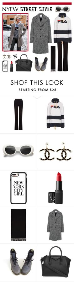 """NYFW Street Style"" by lgb321 ❤ liked on Polyvore featuring Alexander McQueen, Fila, Chanel, Casetify, NARS Cosmetics, Topshop, Acne Studios, Carven, Dr. Martens and Givenchy"