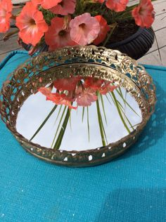 Vintage Gold Filigree Round Mirrored Vanity Tray, Hollywood Regency, Victorian, Glam Decor by YellowHouseDecor on Etsy https://www.etsy.com/listing/242632931/vintage-gold-filigree-round-mirrored