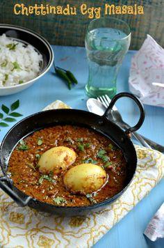 Chettinadu Egg Curry/Chettinadu Muttai Masala ~ Nalini'sKitchen (Just saving to explore other recipes.this dish was intense) Veg Recipes, Spicy Recipes, Curry Recipes, Vegetarian Recipes, Cooking Recipes, Recipies, Spicy Egg Curry Recipe, Chicken Recipes, Chicken Snacks