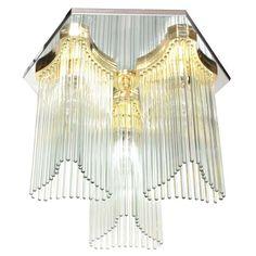 1970s Glass Rod Waterfall Chandelier by Sciolari for Lightolier 1