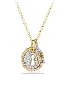 David Yurman - Cable Collectibles Lock and Key Charm Necklace with Diamonds in Gold