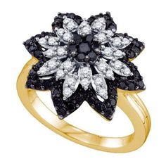 0.85ctw Black Diamond Flower Ring 10K Yellow Gold ($831) ❤ liked on Polyvore featuring jewelry, rings, gold jewelry, blossom jewelry, flower ring, black diamond flower ring and flower jewellery