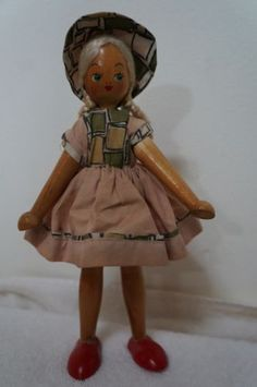 Vintage Polish Wooden Jointed Peg Doll 1960s/1970s - 9 inch | eBay