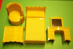 DollHouse Furniture Plastic Superior Renwal 1940s or 1950s Mid Century Modern Bedroom Set for Tin Ideal Doll House