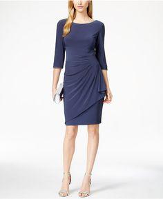 Alex Evenings Petite Embellished Drape-Detail Sheath Dress