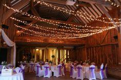 Tythe Barn Evening Reception Unusual Wedding Venues, Unique Weddings, Canopy Lights, Light Canopy, Wedding Venues Hertfordshire, Tythe Barn, Entrance Ways, Event Lighting, Party Lights
