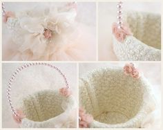 Flower Girl Basket in Ivory and Blush Pink with Lace by SolBijou, $105.00