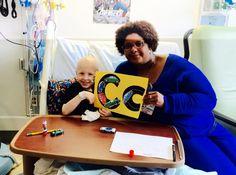 Four Diamonds child Landon, 5 with Penn State Hershey Children's educator Kimberly!