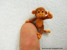 Tiny Brown Monkey - Dollhouse Miniature Animals - 1 inch Scale Crochet Monkeys - Made To Order Crochet Amigurumi, Crochet Toys, Tiny Monkey, Crochet Monkey, Little Monkeys, Thread Crochet, Crochet Animals, Dollhouse Miniatures, Dollhouse Toys