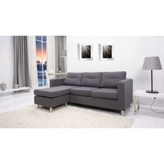 Detroit Dark Grey Convertible Sectional Sofa and Ottoman   Overstock™ Shopping - Big Discounts on Living Room Sets 80 inches?