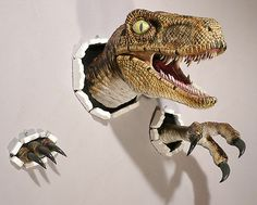Realistic Wallbursting Velociraptor Claw Set ---- to hang in the guest room for those who over stay their welcome!