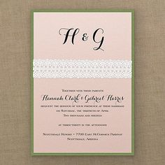 Captivating White Crochet - Invitation - Pastel Coral Shimmer. Available at Persnickety Invitation Studio.