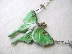 Luna Moth and Labradorite Necklace